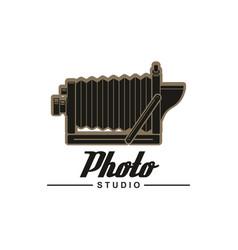 photo studio symbol of retro folding camera vector image