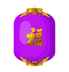 Purple chinese paper lantern icon cartoon style vector image