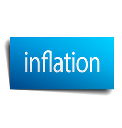 Inflation blue paper sign on white background vector