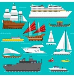 Ship and boats sea symbols vector image