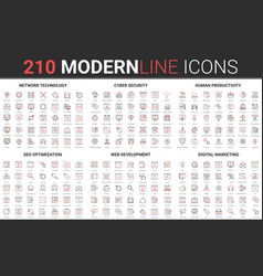 210 modern red black thin line icons set of vector image
