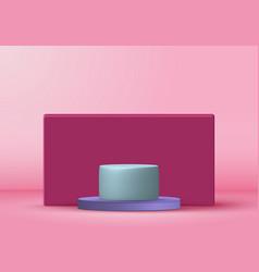 3d rendering with podium minimal pink pastel vector image