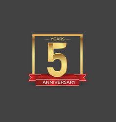 5 years anniversary logo style with golden square vector