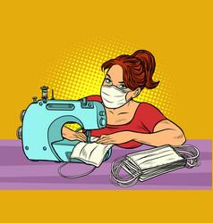 a woman sews medical masks clothing manufacture vector image
