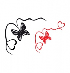 abstract butterfly and hearts vector image
