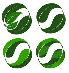 abstract logo from a combination of green leaves vector image