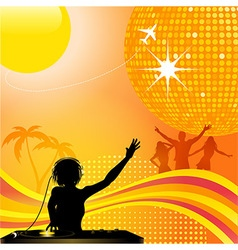 abstract summer background with DJ and disco ball vector image