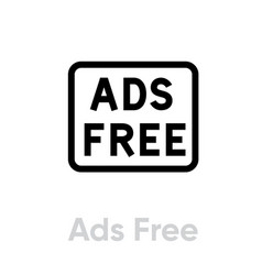 Ads free blocking icon editable line vector
