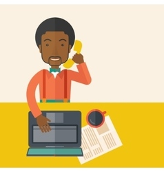 African Office man sitting at his working desk vector image