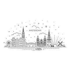 amsterdam travel landmark historical building vector image