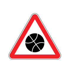 Basketball warning sign red game hazard attention vector