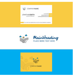 beautiful wind blowing logo and business card vector image