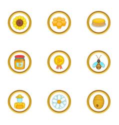 Bee hohey icons set cartoon style vector
