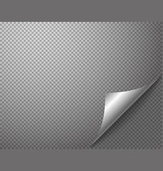 Bending silver corner element on transparent vector