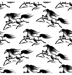 Black horses silhouettes seamless pattern vector
