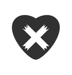 Black icon on white background heart plaster icon vector