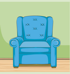 blue armchair hand drawn room vector image