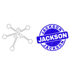 Blue grunge jackson stamp and web mesh user links vector