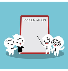 business people cartoon presenting white billboard vector image