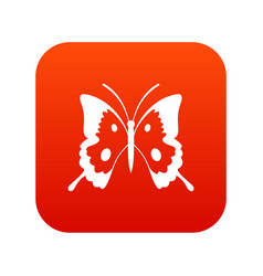 Butterfly icon digital red vector