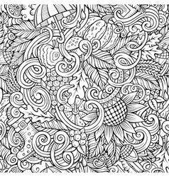 Cartoon cute doodles autumn seamless pattern vector image