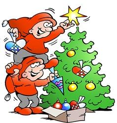 Cartoon two happy elf decorate christ vector