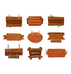 Cartoon wood boards signs and brown wooden banners vector