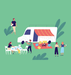 cheerful friends relaxing together enjoying picnic vector image