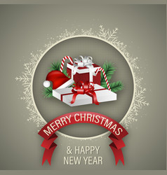 Christmas and happy new year wish with gift boxes vector