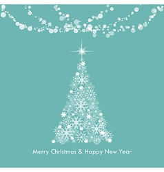 Christmas greeting light snowflake tree vector image