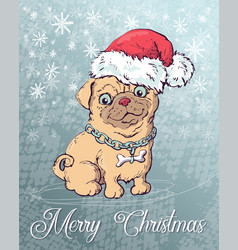 christmas poster with dog portrait in red santa s vector image