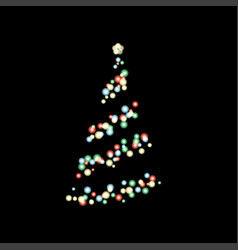 christmas tree lighting in dark vector image