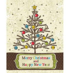 christmas trees on beige background vector image