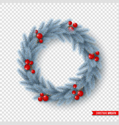 christmas wreath with realistic fir-tree branches vector image