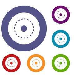 Circle road icons set vector