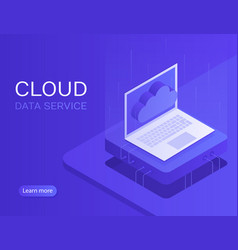 Cloud server banner laptop with cloud icon vector