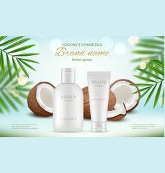 coconut cosmetic advertizing poster with cream vector image