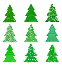 Collection of green fur-trees in cartoon style vector