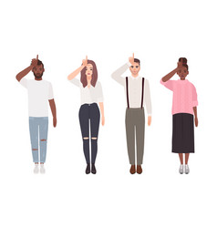 Collection of young unhappy men and women making vector