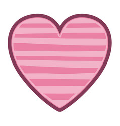 Color pink heart shape with lines pattern vector