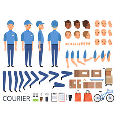 Courier box character animation body parts head vector