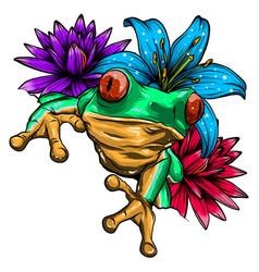 Cute frog cartoon cartoon frog sitting vector
