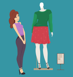cute girl choosing clothes on mannequin at front vector image