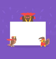 Cute superhero animals with blank banner eagle vector
