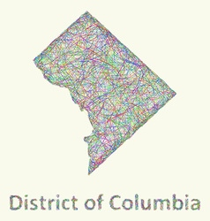 District of Columbia line art map vector