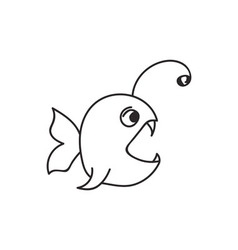 Doodle fish animal icon vector