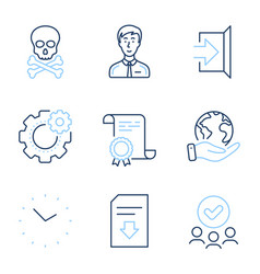 Download file cogwheel and time icons set vector
