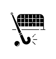 field hockey black glyph icon vector image