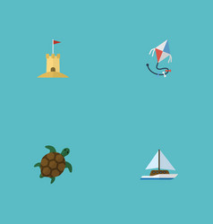 Flat icons sailboard castle fly and other vector