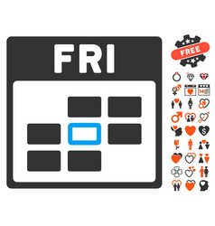 friday calendar grid icon with love bonus vector image